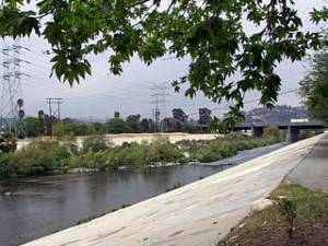 Concrete channel section of the Los Angeles River