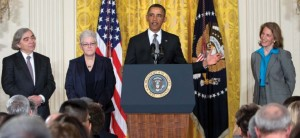 U.S. President Barack Obama (C) nominates (from L-R) Nuclear Physicist Ernest Moniz to head the Department of Energy, Air Quality Expert Gina McCarthy to lead the Environmental Protection Agency, and Walmart's Philanthropic Head Sylvia Mathews Burwell to become Director of the White House Budget Office, in the East Room of the White House in Washington, 4 March 2013. (Source: REUTERS/Larry Downing)