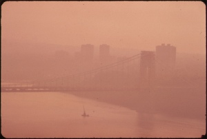 """Historical photo the George Washington Bridge through heavy smog in New Jersey and New York (Source: EPA """"40 Years of Images"""" at www.epa.gov)"""