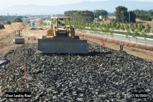 Road construction project in Milpitas, California using tire-derived aggregate as the lightweight fill material. (Source: www.calrecycle.ca.gov)