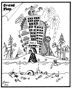 The bible camp proposal has been controversial, as this January 19 cartoon from the Grand Rapids Herald Review makes clear, with opponents claiming it will cause significant environmental harm. (Source: www.deerlakeassociation.org)