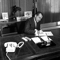 President Nixon signs the National Environmental Policy Act (NEPA) on January 1, 1970. (Source: USDA on Flicker, photo 20120106-OC-AMW-0082).