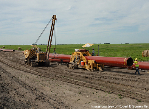 Line 67, the Alberta Clipper Pipeline, was constructed between 2008 and 2010. It runs from Hardisty, Alberta, in Canada, to Superior, Wisconsin, in the United States. (Source: http://www.hydrocarbons-technology.com, photo by Robert Somerville)