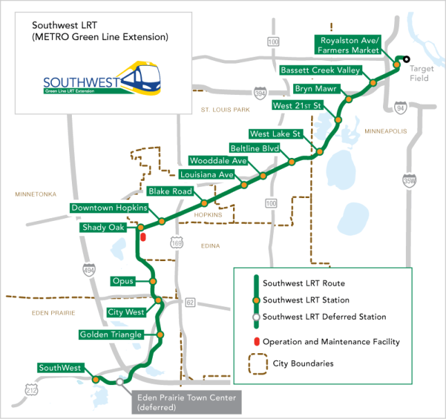 The proposed route for the Southwest Light Rail line. (Source: http://metrocouncil.org)
